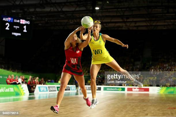 Gabi Simpson of Australia and Chelsea Pitman of England compete for the ball during the Netball Gold Medal Match on day 11 of the Gold Coast 2018...