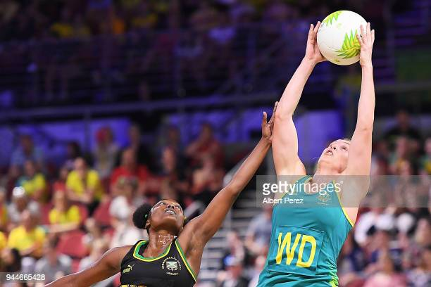 Gabi Simpson of Australia competes during the Netball match between Australia and Jamaica on day seven of the Gold Coast 2018 Commonwealth Games at...