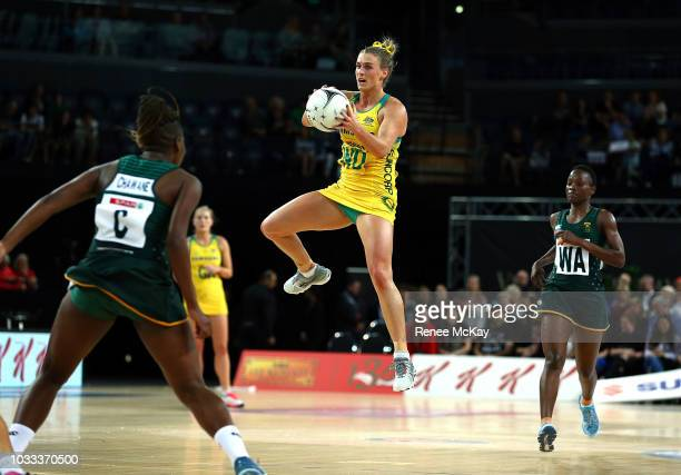 Gabi Simpson of Australia during the Quad Series Netball Test match between Australia Diamonds and South Africa on September 15 2018 in Auckland New...