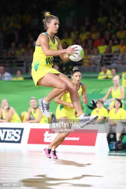 Gabi Simpson of Australia in action during the Netball Gold Medal Match on day 11 of the Gold Coast 2018 Commonwealth Games at Coomera Indoor Sports...