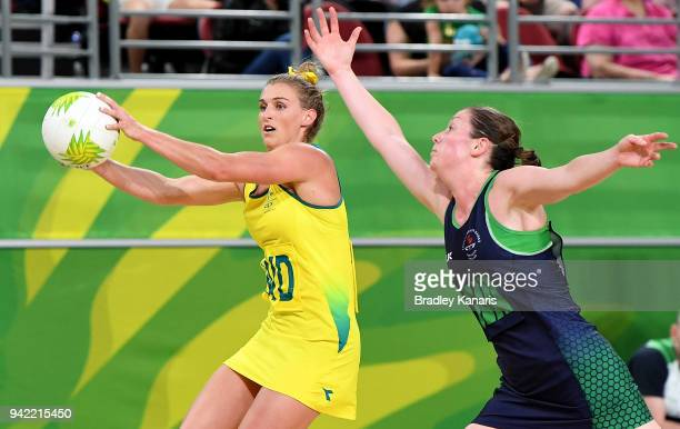 Gabi Simpson of Australia in action during the Netball match between Australia and Northern Ireland on day one of the Gold Coast 2018 Commonwealth...