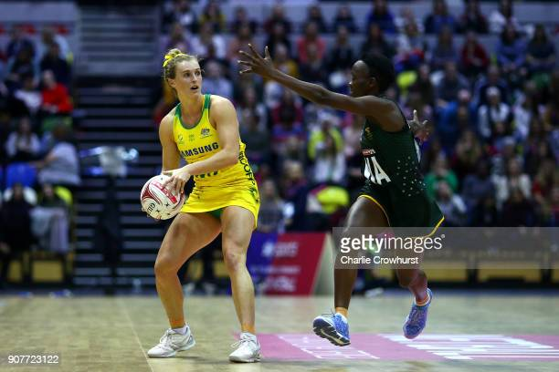 Gabi Simpson of Australia in action during the Netball Quad Series Vitality Netball International match between South Africa and Australia at Copper...