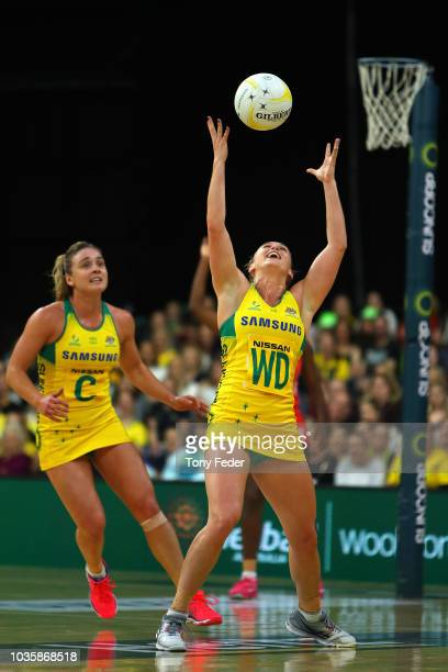 Gabi Simpson of the Diamonds catches the ball during the Quad Series International Netball test match between the Australian Diamonds and the England...