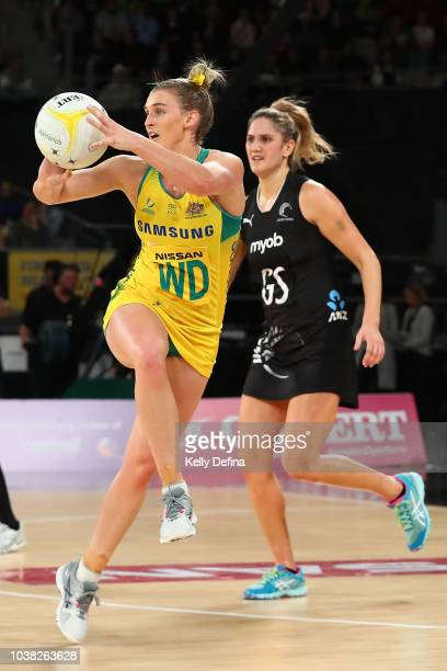 Gabi Simpson of the Diamonds catches the ball during the Quad Series International Test match between the Australian Diamonds and the New Zealand...