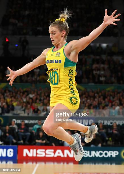Gabi Simpson of the Diamonds jumps in defensive action during the Quad Series International Test match between the Australian Diamonds and the New...