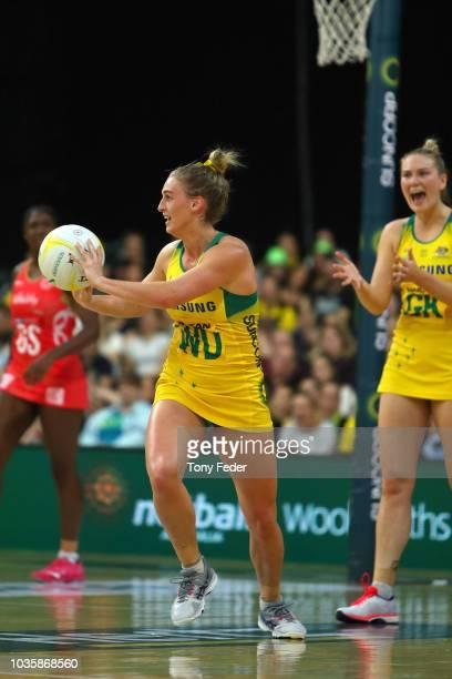 Gabi Simpson of the Diamonds passes the ball during the Quad Series International Netball test match between the Australian Diamonds and the England...