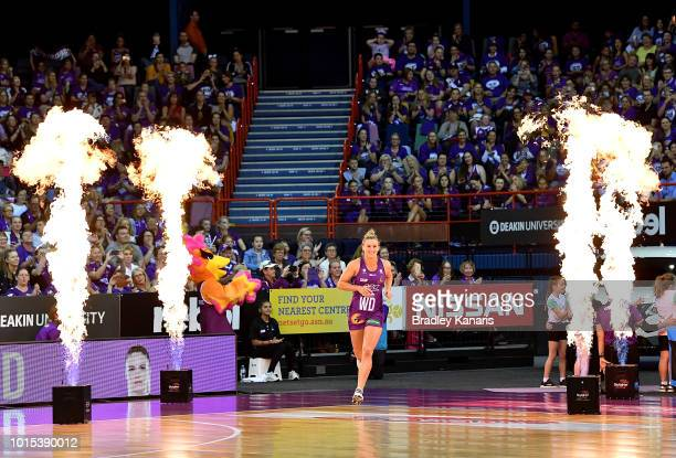 Gabi Simpson of the Firebirds enters the court during the Super Netball Major Semi Final match between the Firebirds and the Lightning at Brisbane...