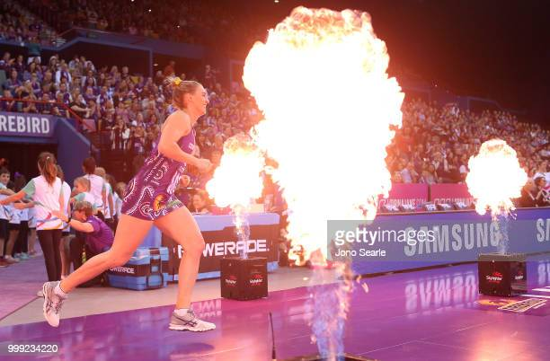 Gabi Simpson of the Firebirds heads onto court during the round 11 Super Netball match between the Firebirds and the Giants at Brisbane Entertainment...