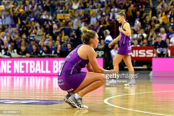 Gabi Simpson of the Firebirds looks dejected after her team loses the Super Netball Major Semi Final match between the Firebirds and the Lightning at...