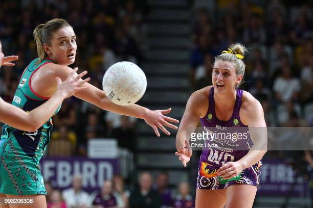 Gabi Simpson of the Firebirds passes during the round 10 Super Netball match between the Firebirds and the Vixens at Gold Coast Sports and Leisure...