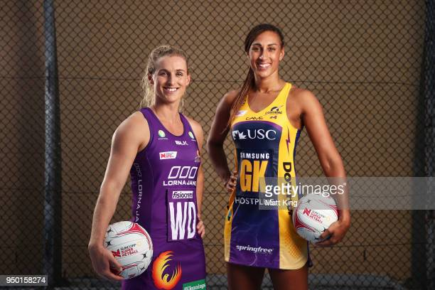 Gabi Simpson of the Queensland Firebirds and Geva Mentor of the Sunshine Coast Lightning pose during the Suncorp Super Netball 2018 season launch on...