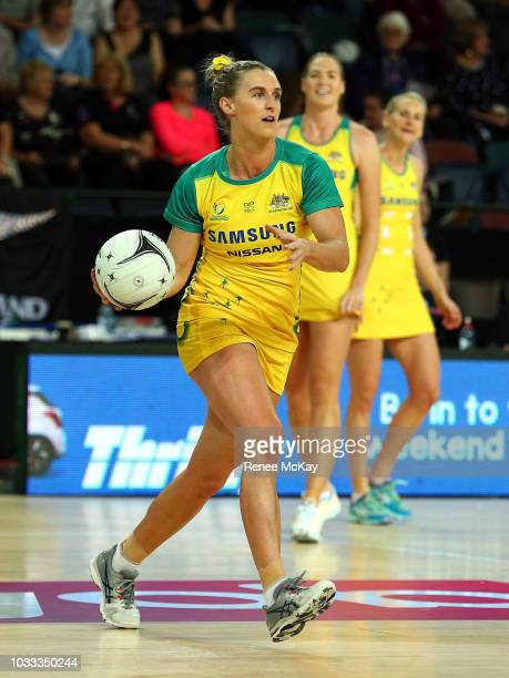 Gabi Simpson warms up during the Quad Series Netball Test match between Australia Diamonds and South Africa on September 15 2018 in Auckland New...