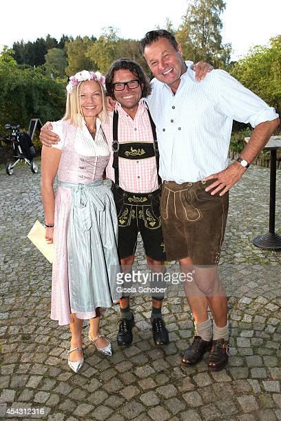 Gabi Strassburger Rainer Jilg Steffen Ritschel attend the Dresscoded Hippie Wiesn 2014 at Golfclub Gut Thailing on August 28 2014 in Steinhoering...