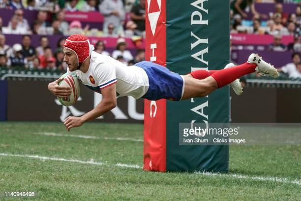 Gabin Villiere of France score a try during Cup Semi Finals between Samoa and France on day three of the Cathay Pacific/HSBC Hong Kong Sevens at the...
