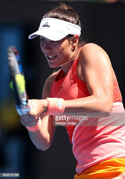 Gabine Muguruza of Spain plays a backhand in her first round match against Anett Kontaveit of Estonia during day two of the 2016 Australian Open at...