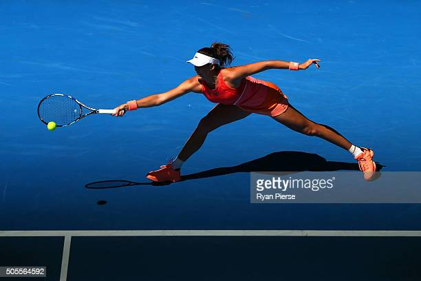 Gabine Muguruza of Spain plays a forehand in her first round match against Anett Kontaveit of Estonia during day two of the 2016 Australian Open at...