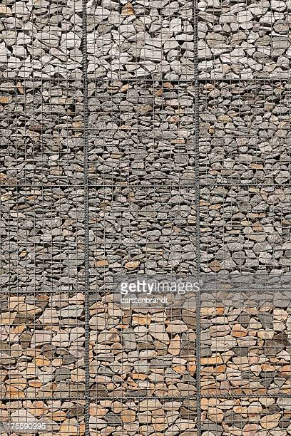 Gabion wall with different kinds of stone
