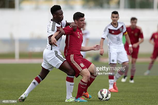 Gabirel Kyeremateng of Germany challenges Gorka Zabarte of Spain during the U16 UEFA development tournament match between Germany and Spain on...