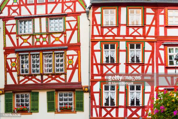 gable details of old timber frame medieval houses - ハーフティンバー様式 ストックフォトと画像