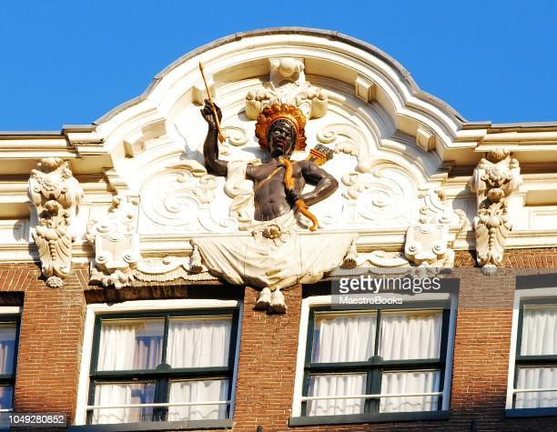 Gable huis van Amsterdam die het huis van een slavenhandelaar