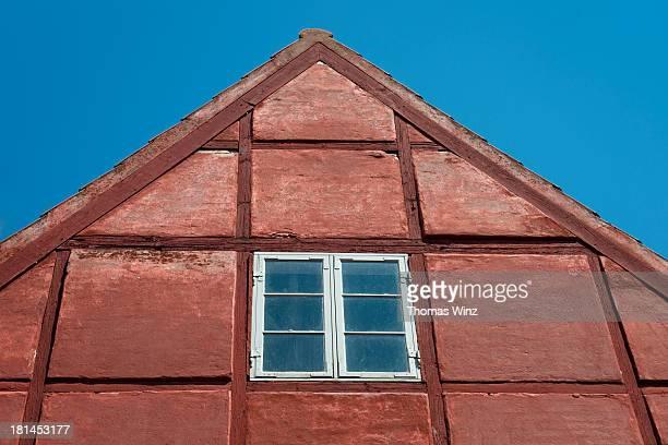 gable of a half timbered house - ハーフティンバー様式 ストックフォトと画像