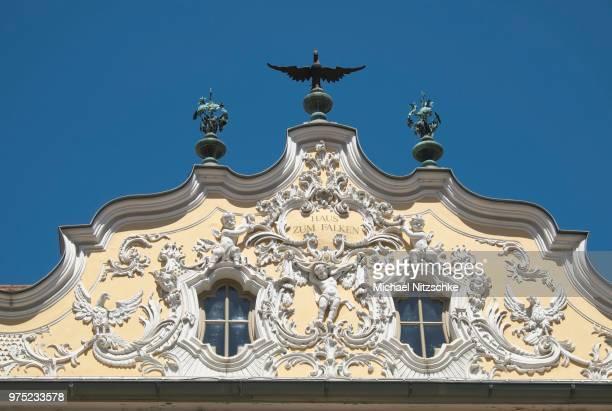 gable on haus zum falken house, falkenhaus, wuerzburg, lower franconia, bavaria, germany - embellishment stock pictures, royalty-free photos & images