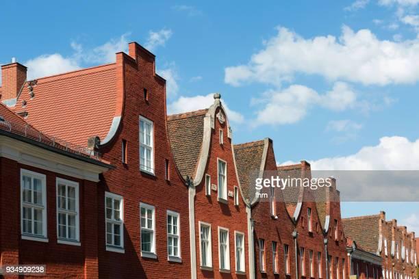 gables in the historic dutch quarter in potsdam (brandenburg, germany) - holländische kultur stock-fotos und bilder