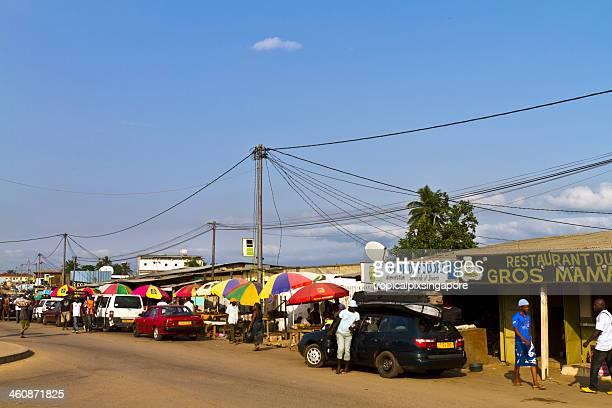 Gabon, Estuaire Province, Lambaréné, shops and restaurants.