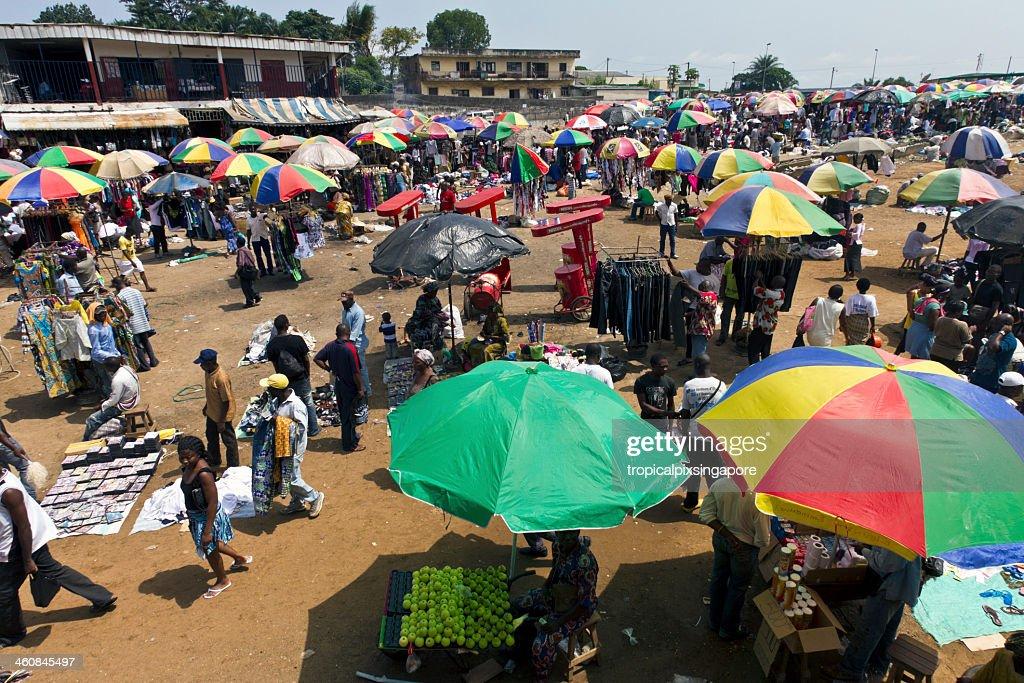 Gabon, Estuaire Province, Libreville, street market. : Stock Photo