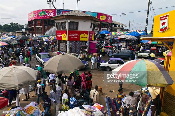Gabon, Estuaire Province, Libreville, the street market at Mont-Bouët. This famous market is the largest street market in Gabon, with a wide variety...