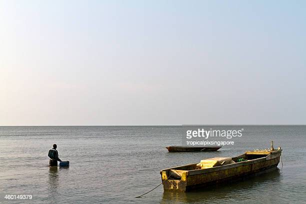 gabon, estuaire province, fishing boats. - gabon stock pictures, royalty-free photos & images