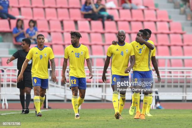 Gabon national football team celebrate their goal during the international friendly match between United Arab Emirates and Gabon at Rajamangala...