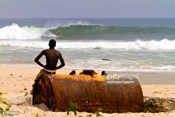 gabon, nyanga province, mayumba, surfing. - gabon stock pictures, royalty-free photos & images