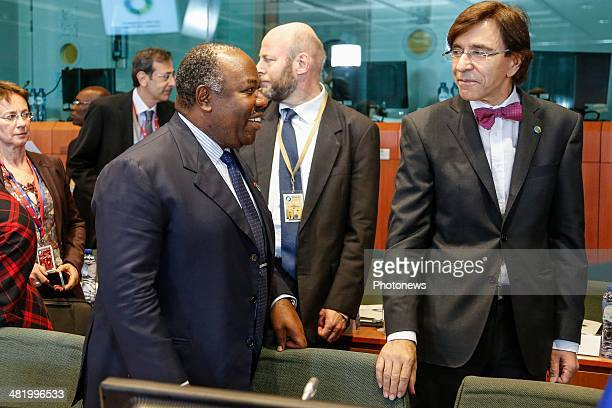Gabon President Ali Bongo Ondimba and Belgium Prime Minister Elio Di Rupo attend the first day of the summit of European Union and African heads of...