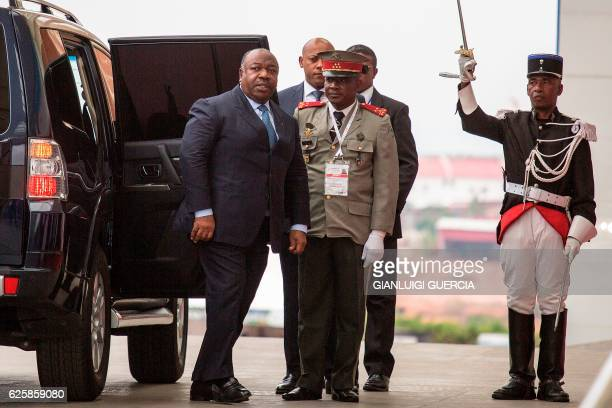 Gabon President Ali Bongo Ondimba arrives at the Ivato Conference Centre for the official opening of the 16th Francophonie Summit in Antananarivo on...
