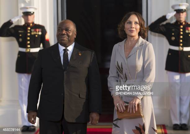 Gabon President Ali Bongo Ondimba arrives at the White House for a group dinner during the US Africa Leaders Summit August 5 2014 in Washington DC...
