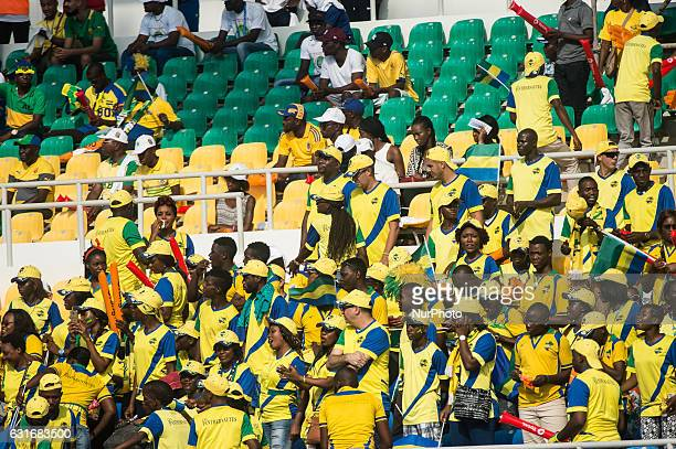 Gabon supporters cheer for their team during the 2017 Africa Cup of Nations group A football match between Gabon and GuineaBissau at the Stade de...