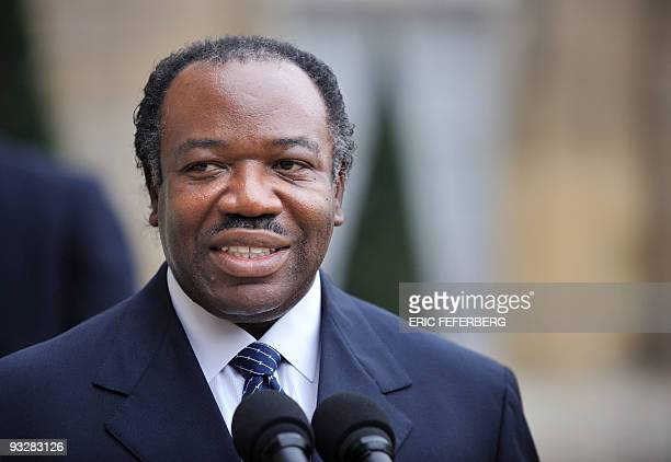 Gabonese President Ali Bongo Ondimba answers journalists' questions after a lunch with French President Nicolas Sarkozy at the Elysee palace in Paris...