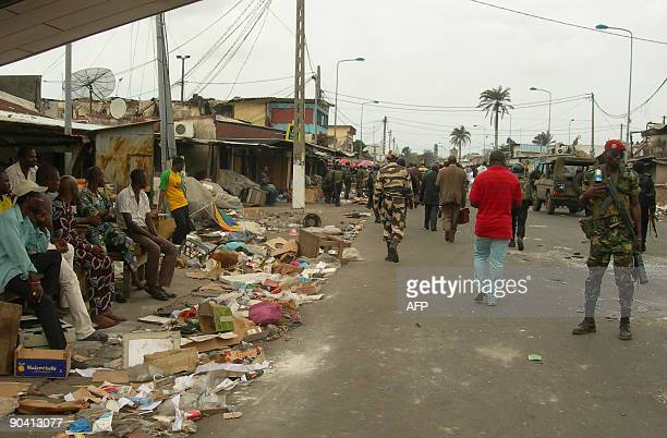 Gabonese soldiers patrol the streets in Port Gentil on September 6 2009 during a visit from the Interior Minister JeanFrancois Ndongou Violence...