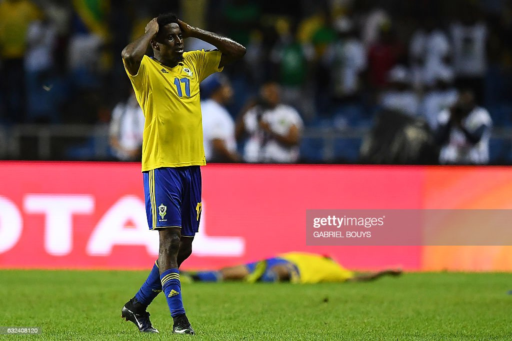 Gabon's defender Andre Biyogo Poko reacts at the end of the 2017 Africa Cup of Nations group A football match between Cameroon and Gabon at the Stade de l'Amitie Sino-Gabonaise in Libreville on January 22, 2017. / AFP / GABRIEL
