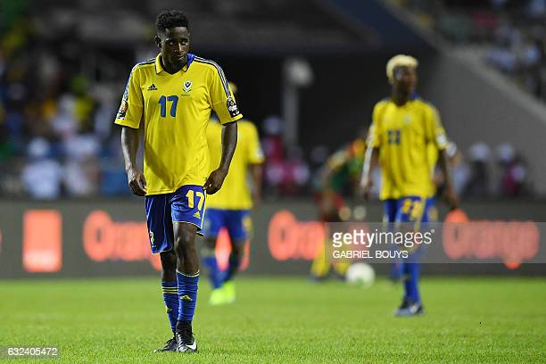 Gabon's defender Andre Biyogo Poko reacts during the 2017 Africa Cup of Nations group A football match between Cameroon and Gabon at the Stade de...