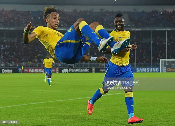 Gabon's forward PierreEmerick Aubameyang celebrates after scoring a goal during the 2015 African Cup of Nations group A football match between...