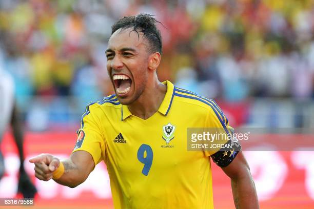 Gabon's forward PierreEmerick Aubameyang celebrates after scoring a goal during the 2017 Africa Cup of Nations group A football match between Gabon...