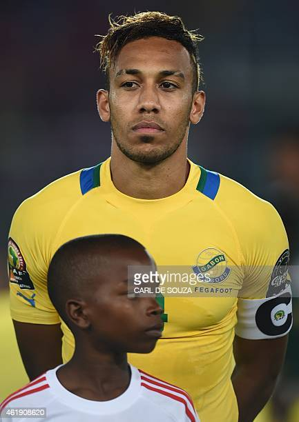 Gabon's forward PierreEmerick Aubameyang poses ahead of the 2015 African Cup of Nations group A football match between Gabon and Congo in Bata on...