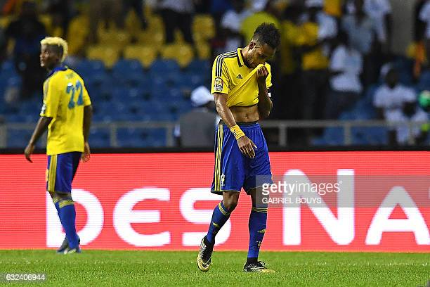 Gabon's forward PierreEmerick Aubameyang reacts at the end of the 2017 Africa Cup of Nations group A football match between Cameroon and Gabon at the...