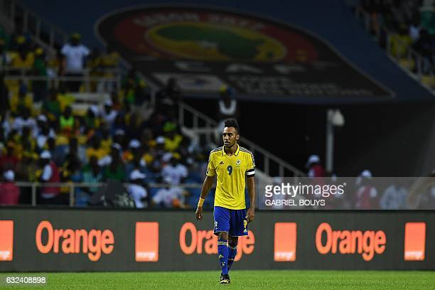 Gabon's forward PierreEmerick Aubameyang reacts during the 2017 Africa Cup of Nations group A football match between Cameroon and Gabon at the Stade...