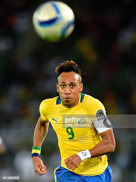 Gabon's forward PierreEmerick Aubameyang runs after the ball during the 2015 African Cup of Nations group A football match between Burkina Faso and...