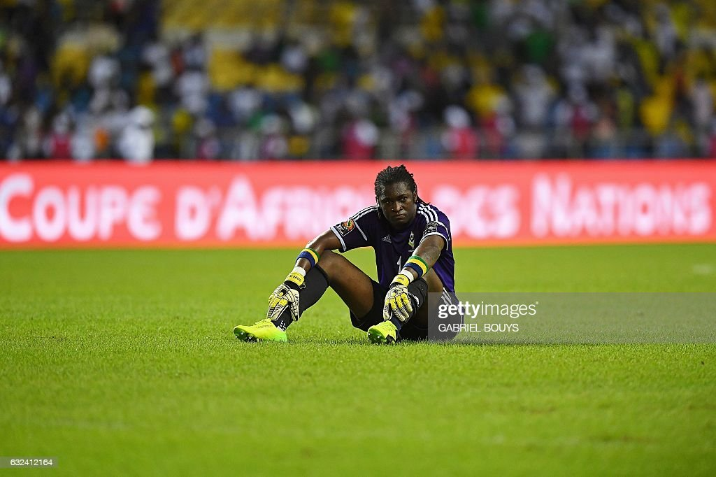 Gabon's goalkeeper Didier Ovono reacts at the end of the 2017 Africa Cup of Nations group A football match between Cameroon and Gabon at the Stade de l'Amitie Sino-Gabonaise in Libreville on January 22, 2017. / AFP / GABRIEL