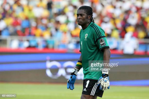 Gabon's goalkeeper Didier Ovono reacts during the 2017 Africa Cup of Nations group A football match between Gabon and GuineaBissau at the Stade de...