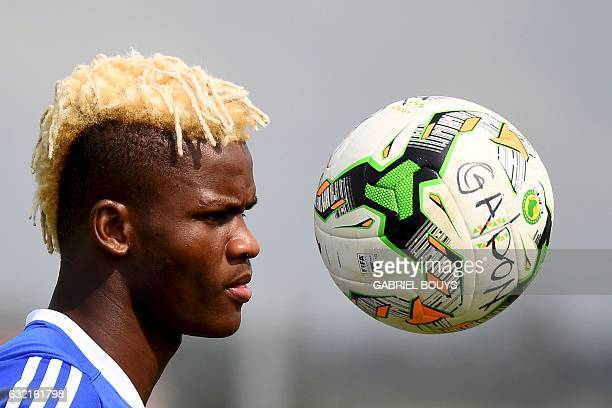 Gabon's midfielder Didier Ibrahim Ndong attends a training session in Libreville on January 20 2017 during the 2017 Africa Cup of Nations football...